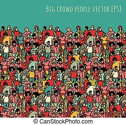 人群, 大, 团体, 人们, seamless, 模式, 同时,, sky.