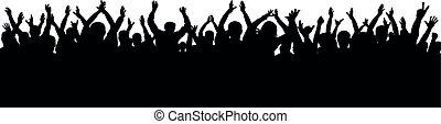 人群, 為歡呼, 黑色半面畫像