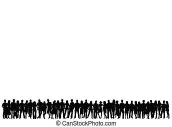 人群, ......的, 人們, -, 矢量, 黑色半面畫像