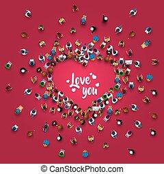 人群, ......的, 人在, 形式, ......的, a, 心, 符號。
