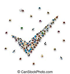人群, ......的, 人在, 形式, ......的, a, 符號。
