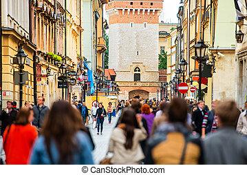 人群, ......的, 步行的人, 上, a, 街道