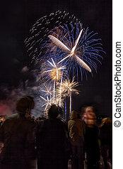 人群, 觀看, 新年, 煙火