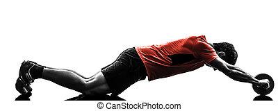 人行使, 健身, 測驗, 腹部, 定調子, 輪子, 黑色半面畫像