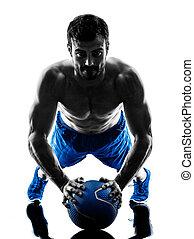 人行使, 健身, 重量, 鍛煉, 黑色半面畫像