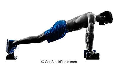 人行使, 健身, 重量, 黑色半面畫像