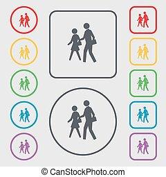 人行横道, 图标, 标志。, 符号, 在上, the, 绕行, 同时,, 广场, 按钮, 带, frame., 矢量