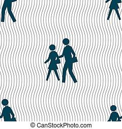人行横道, 图标, 标志。, seamless, 模式, 带, 几何学, texture., 矢量