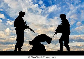 人質, テロリスト, シルエット