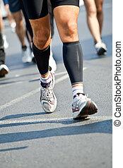人跑, 在, 城市, 馬拉松, -, 運動變模糊