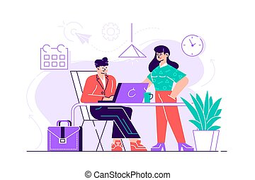 人間が座る, 机, コンピュータ, 若い