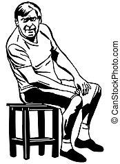 人間が座る, 腰掛け, 成人, ベクトル, スケッチ