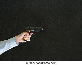 人間が指さす, a, 銃