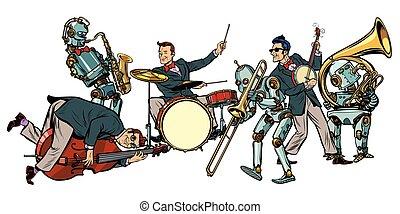 人間, ロボット, ジャズ, オーケストラ, 隔離された, ほんの少し, 未来派