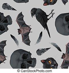 人間, ワタリガラス, 頭骨, seamless, パターン