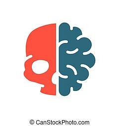 人間, 器官, 頭骨, icon., 器官, 有色人種, 神経系, 内部, シンボル, 中央である, 脳, 本, 健康