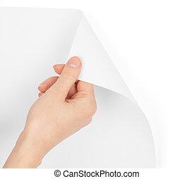 人間, 手, 回転しているページ, ブランク