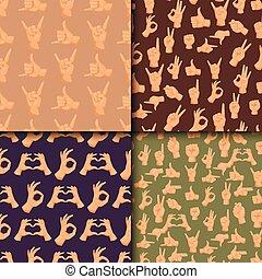 人間, 指すこと, 人々, コミュニケーション, seamless, 腕, ジェスチャー, ベクトル, 背景, 手, パターン, メッセージ, deaf-mute, ジェスチャーで表現する, illustration.