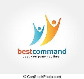 人間, 決め付けること, 抽象的, logotype, ベクトル, デザイン, テンプレート, ロゴ, 企業である, concept., アイコン