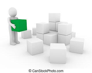 人間, 立方体, 緑, 箱, 3d, 白