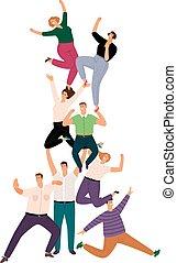 人間, 群集, 成功, 人々, 成功した, pyramid., イラスト, 若い, 共同体, 隔離された, チームワーク, 協力, チーム, サポート, 白, 偶然, 漫画, 幸せ
