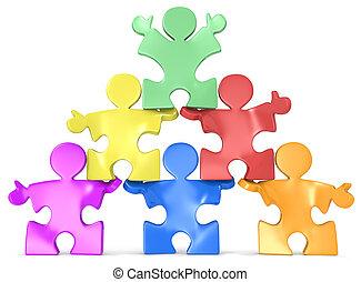 人間, multicultural, pyramid.