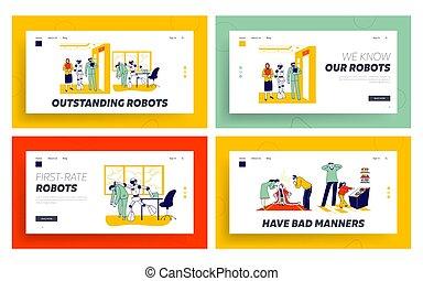 人間, parents., イラスト, ホール, 仕事, から, cyborg, 子供, テンプレート, interview., だめにされる, 待ち時間, オフィス。, 子供, set., 特徴, 従業員, 線である, ページ, ベクトル, 人々, 着陸, ける, seekers, ロボット, ∥対∥