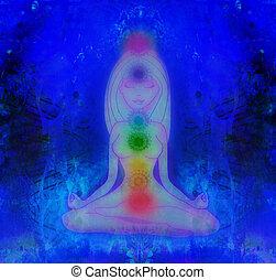 人類, 能量, 身體, 氛圍, chakras, 在, 沉思