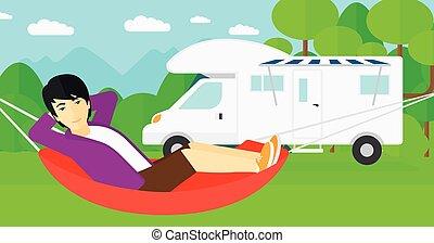 人, あること, 中に, hammock.