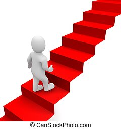 人, そして, 赤いカーペット, 階段。, 3d, レンダリングした, illustration.