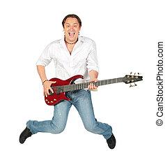 人, ∥で∥, ギター, ジャンプする