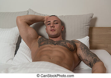人, ∥で∥, トルソ, ベッドで横になる