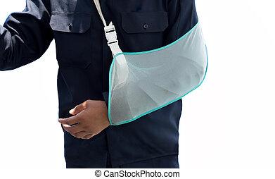 人, ∥で∥, 手, 傷つけられる, 身に着けていること, ∥, 腕の支柱, 隔離された