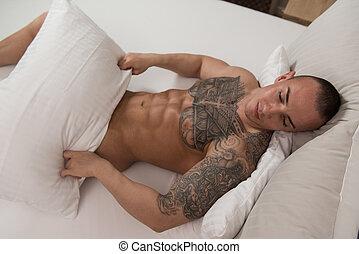 人, ∥で∥, 裸である, トルソ, ベッドで横になる