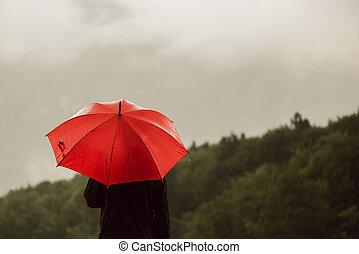 人, ∥で∥, 赤い洋傘, 雨に立つこと