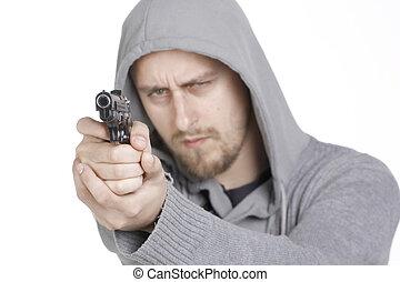 人, ∥で∥, 銃, 向けられた