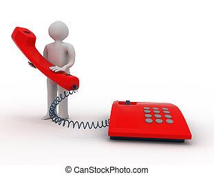 人, ∥で∥, 電話。, 3d, 概念
