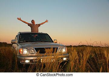 人, ∥で∥, offroad, 自動車, 中に, フィールド