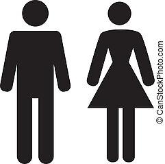 人 と 女性, アイコン, 白, 背景