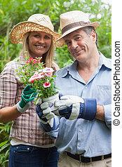 人 と 女性, 保有物, a, 花 鍋