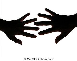 人 と 女性, 手, シルエット