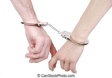 人 と 女性, 手, 中に, handcuffs.