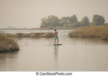 人, の上, paddleboarding, 立ちなさい
