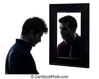 人, の前, 彼の, 鏡, シルエット