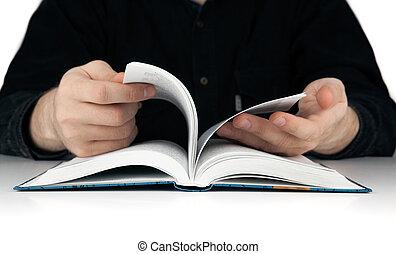 人, ひっくり返る, 本, によって, 手, ページ