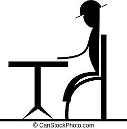 人, アイコン, テーブル, モデル