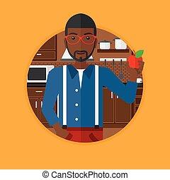 人, アップル, kitchen., 若い