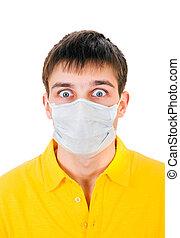 人, インフルエンザ, マスク, 若い
