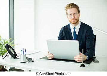 人, オフィス, 仕事, 若い