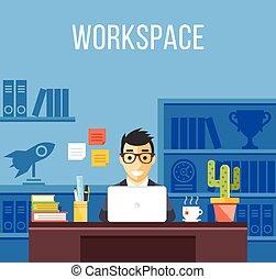 人, オフィス, work., スーツ